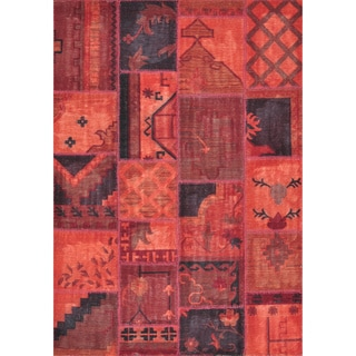 Hand-woven Ava Wool Red Patchwork Rug