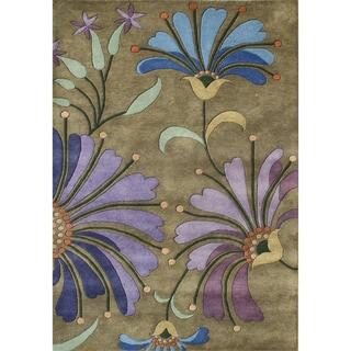 Alliyah Handmade Khaki Green, Blue, Forest Green, Light Purple, Dark Purple, and Blue New Zealand Blend Wool Rug (9' x 12')