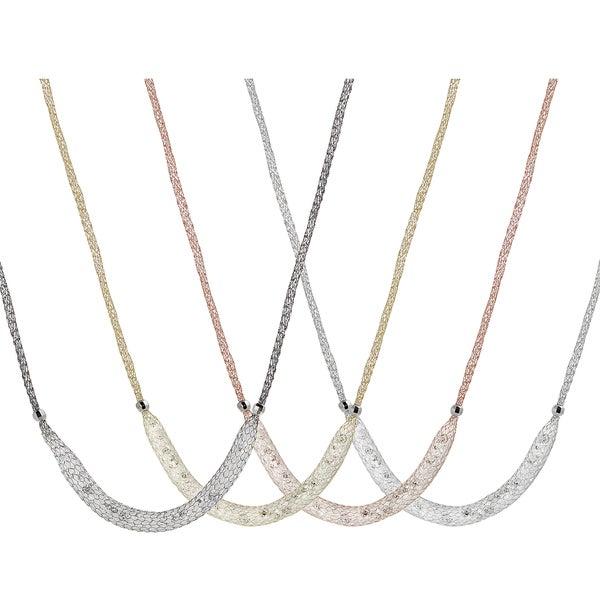 Journee Italian Sterling Silver Cubic Zirconia Stuffed Mesh Necklace