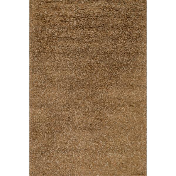 Hand-woven Mocha/ Brown Wool Shag Area Rug