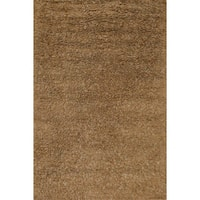 Hand-woven Mocha/ Brown Wool Shag Area Rug