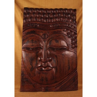 Classic Brown Carved Buddha Panel (India)