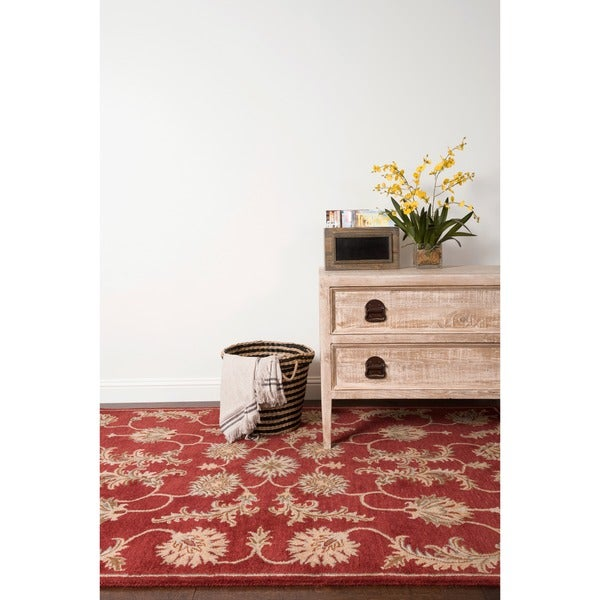 Hand-tufted Wilson Red Wool Rug