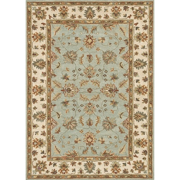 Shop Hand-tufted Wilson Turquoise/ Ivory Wool Rug