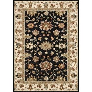 Hand-tufted Wilson Black/ Ivory Wool Rug