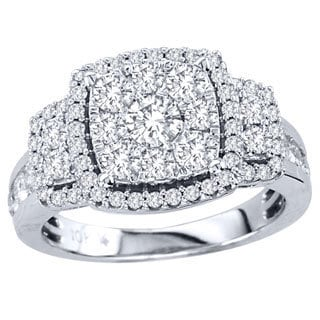 De Couer 10k White Gold 1 1/2ct TDW Multi Stone Diamond Ring