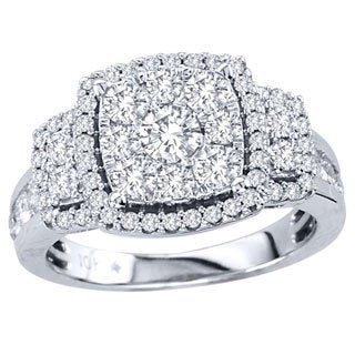 De Couer 10k White Gold 1 1/2ct TDW Multi Stone Diamond Ring (H-I, I2)