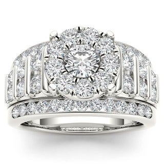 De Cour 10k Gold 2ct TDW Pave Diamond Halo Engagement Ring