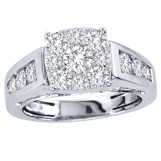 De Couer 10k White Gold 2ct TDW Diamond Engagement Ring