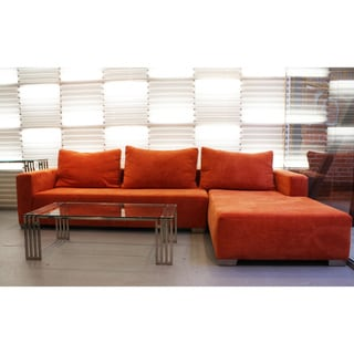 Decenni Custom Furniture 'Juliet' Orange Modern Sectional Right Facing