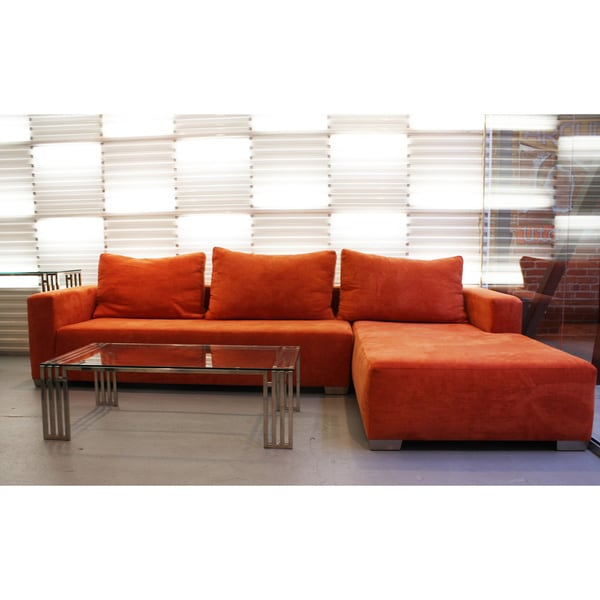 Decenni Custom Furniture 39 Juliet 39 Orange Modern Sectional Right Facin