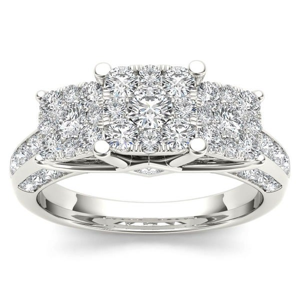 De Couer 10k Gold 1 1/ 2ct TDW Pave Diamond Cluster Engagement Ring (H-I, I2)