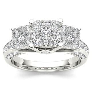 De Couer 10k Gold 1 1/ 2ct TDW Pave Diamond Cluster Engagement Ring