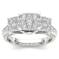 De Couer  IGI Certified 10k Gold 1 1/ 2ct TDW Pave Diamond Cluster Engagement Ring