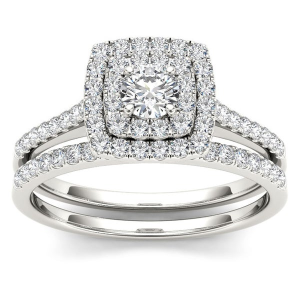 De Couer 10k Gold 3/4ct TDW Diamond Double Halo Bridal Ring Set