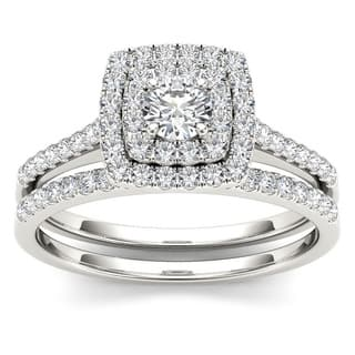 De Couer 10k Gold 3/4ct TDW Diamond Double Halo Bridal Ring Set|https://ak1.ostkcdn.com/images/products/7583006/P15009846.jpg?impolicy=medium