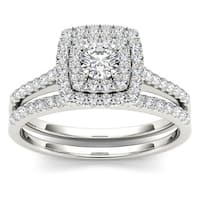 De Couer  IGI Certified 10k Gold 3/4ct TDW Diamond Double Halo Bridal Ring Set
