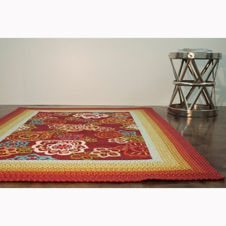 Hand-hooked Frontier Red Rug