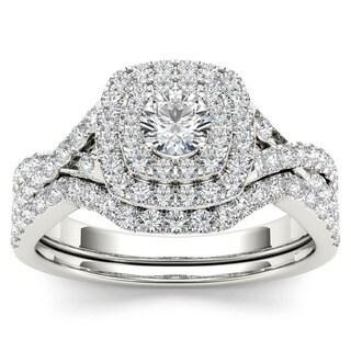 De Couer 10k White Gold 7/8ct TDW Diamond Double Halo Bridal Ring Set