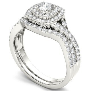 De Couer  IGI Certified 10k White Gold 7/8ct TDW Diamond Double Halo Bridal Ring Set