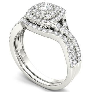 De Couer 10k White Gold 7/8ct TDW Diamond Double Halo Bridal Ring Set|https://ak1.ostkcdn.com/images/products/7583011/P15009845.jpg?impolicy=medium