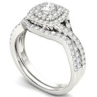 De Couer  IGI Certified 10k White Gold 7/8ct TDW Diamond Double Halo Bridal Ring Set