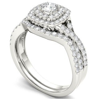 De Couer 10k White Gold 7/8ct TDW Diamond Double Halo Bridal Ring Set