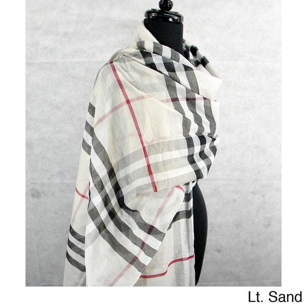 Large Plaid Sheer Fringed Fashion Scarf