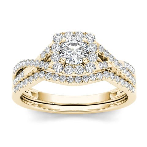 De Couer 10k Gold 3/4ct TDW Diamond Halo Bridal Ring Set