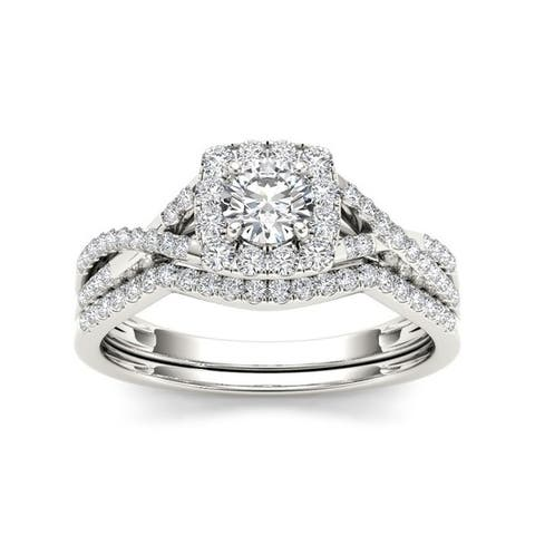 De Couer 10k Gold 3/4ct TDW Diamond Halo Bridal Ring Set