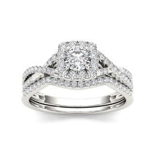 De Couer 10k Gold 3/4ct TDW Diamond Halo Bridal Ring Set|https://ak1.ostkcdn.com/images/products/7583019/P15009850.jpg?impolicy=medium