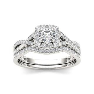 De Couer 10k Gold 3 4ct TDW Diamond Halo Bridal Ring Set