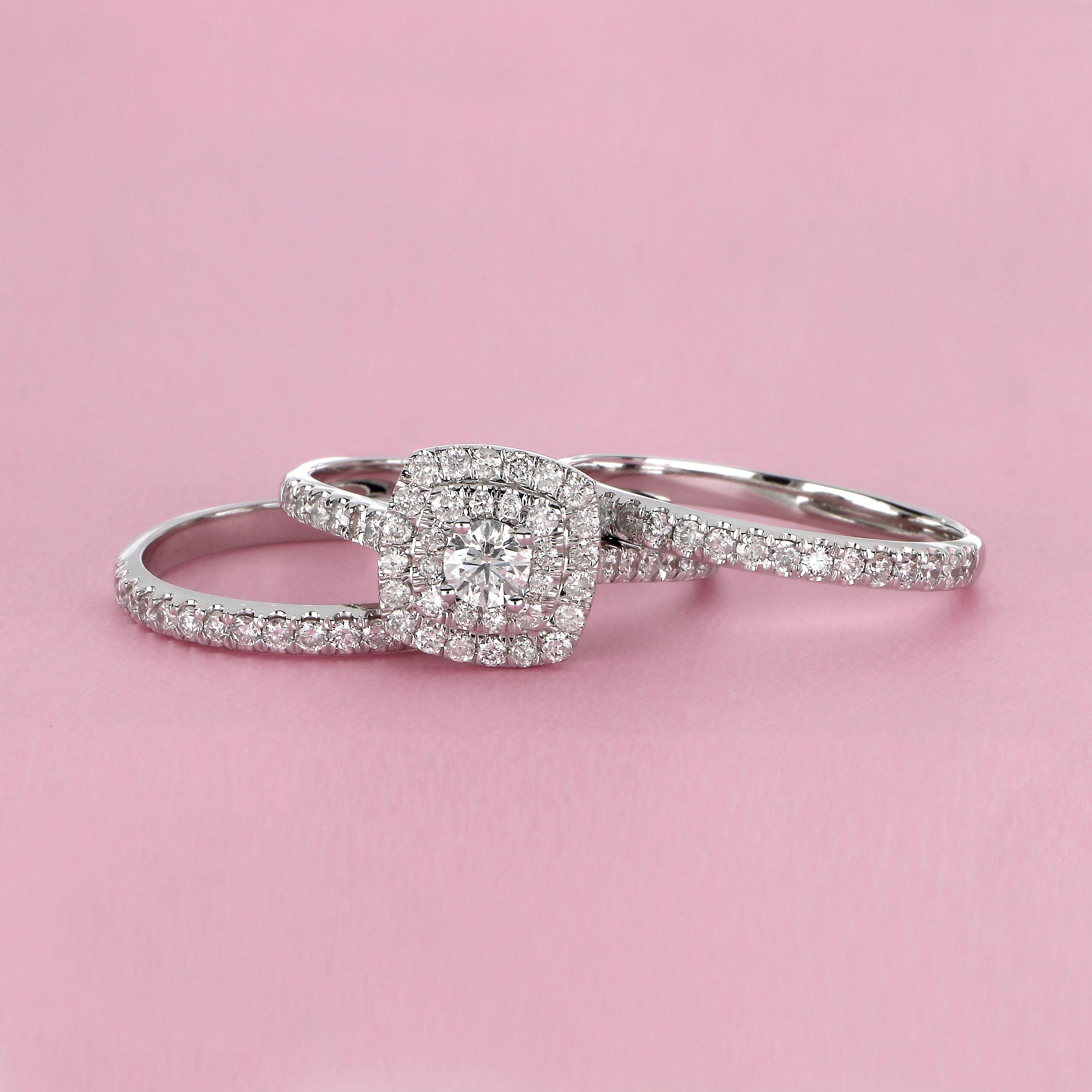 Size 12 Elegant 10k White Gold CZ Halo Wedding Engagement Ring Set