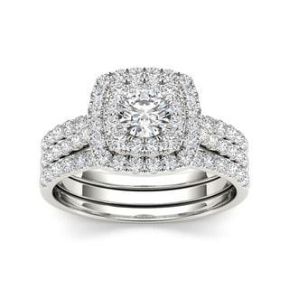 De Couer 10k White Gold 1 1/2 ct TDW Diamond Halo Engagement Ring Set