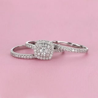 de couer 10k white gold 1 12 ct tdw diamond halo engagement ring set - Engagement And Wedding Ring Set