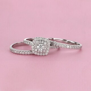 De Couer 10k White Gold 1 1/2 ct TDW Diamond Halo Engagement Ring Set