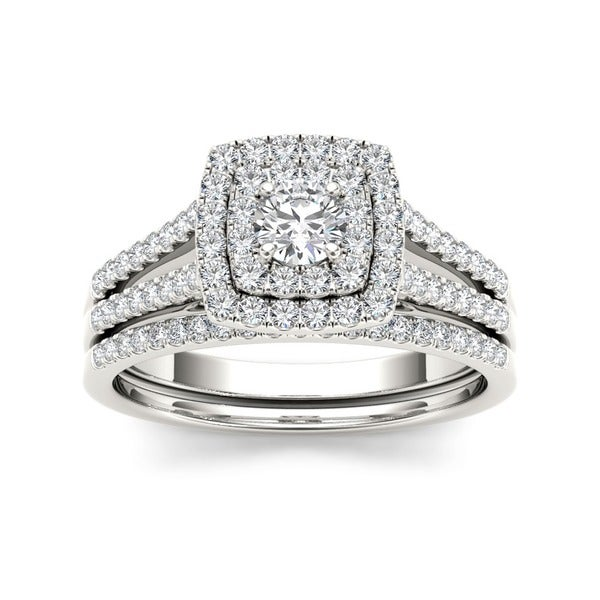 De Couer 10k White Gold 3/4ct TDW Diamond Double Halo Engagement Ring Set