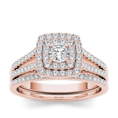 De Couer IGI Certified 10k White Gold 3/4ct TDW Diamond Double Halo Engagement Ring Set