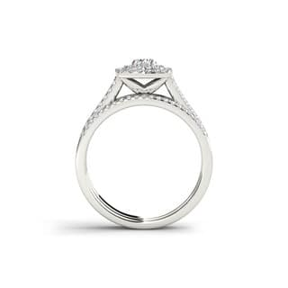 De Couer 10k White Gold 3/4ct TDW Diamond Double Halo Engagement Ring Set|https://ak1.ostkcdn.com/images/products/7583022/P15009851.jpg?impolicy=medium