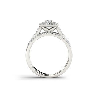 De Couer 10k White Gold 3/4ct TDW Diamond Double Halo Engagement Ring Set