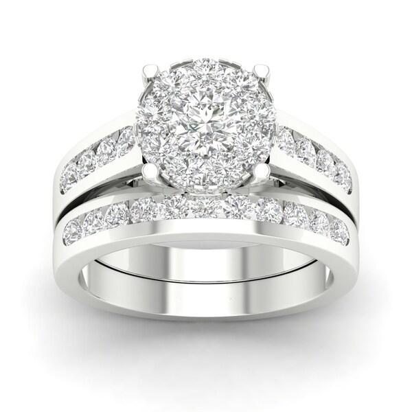 De Couer 10k Gold 1 1/2ct TDW Diamond Engagement Ring Set