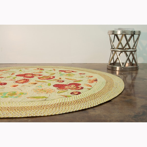 Hand-hooked Frontier Sage Rug (7' Round)