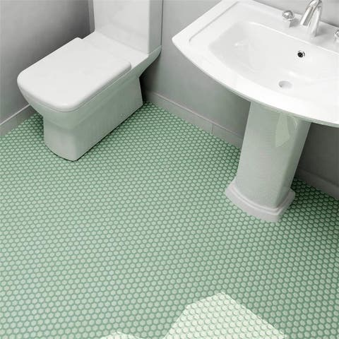 SomerTile 10.25x11.75-inch Victorian Hex Matte Light Green Porcelain Mosaic Floor and Wall Tile (10 tiles/8.56 sqft.)