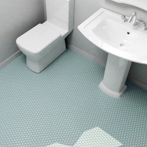 SomerTile 10.25x11.75-inch Victorian Hex Matte Light Blue Porcelain Mosaic Floor and Wall Tile (10 tiles/8.56 sqft.)