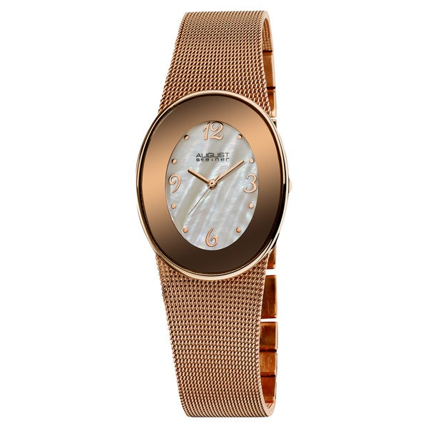 August Steiner Women's Quartz Rose-Tone Oval Mesh Bracelet Watch
