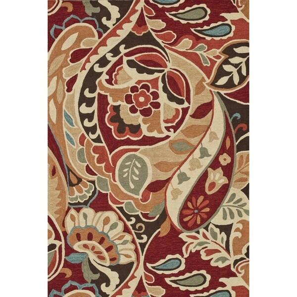 Hand-hooked Savannah Red/ Multi Rug (7'6 x 9'6)
