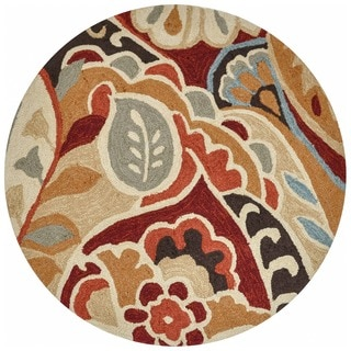 Hand-hooked Savannah Red/ Multi Rug (3' Round)