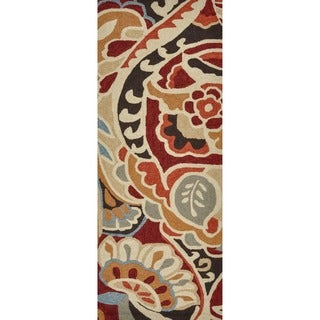 Hand-hooked Savannah Red/ Multi Rug (2' x 5')