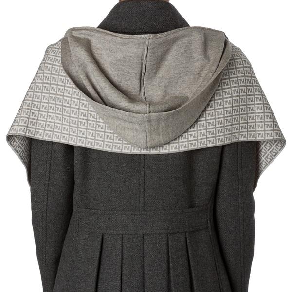 Fendi Light Grey Zucchino Wool Hooded Scarf
