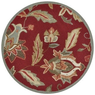 Hand-hooked Savannah Red Rug (3' Round)